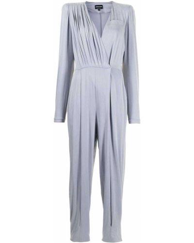 Синий комбинезон с карманами с длинными рукавами Giorgio Armani