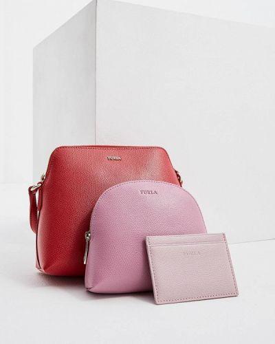 Кожаная сумка через плечо розовый Furla