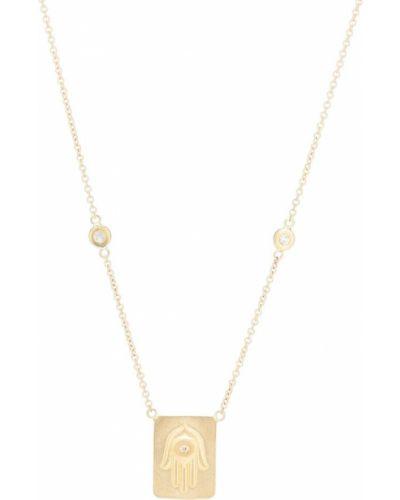 С ромбами ожерелье с бриллиантом золотое Jacquie Aiche