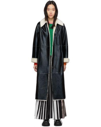 Длинное пальто без воротника с воротником Stand Studio