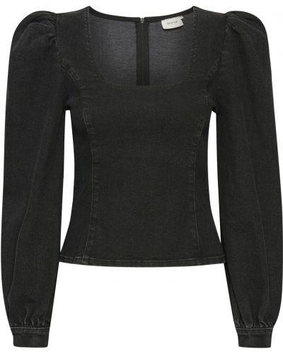 Czarna bluzka elegancka z długimi rękawami Gestuz