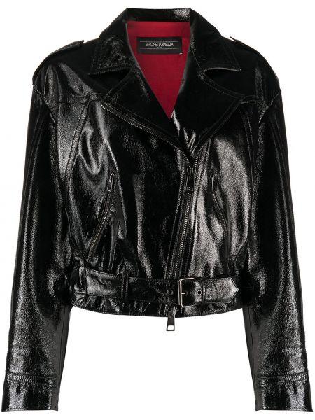 Черная кожаная короткая куртка с карманами Simonetta Ravizza