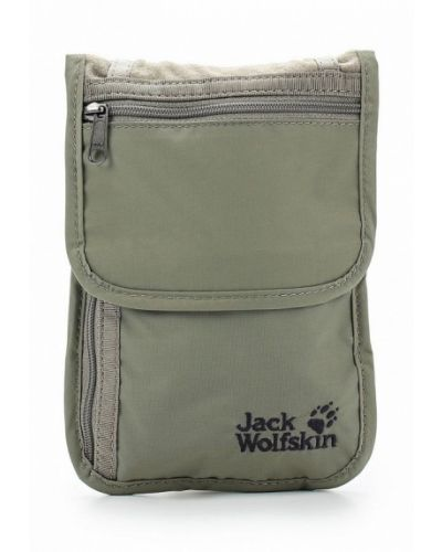 Косметичка кожаная зеленый Jack Wolfskin