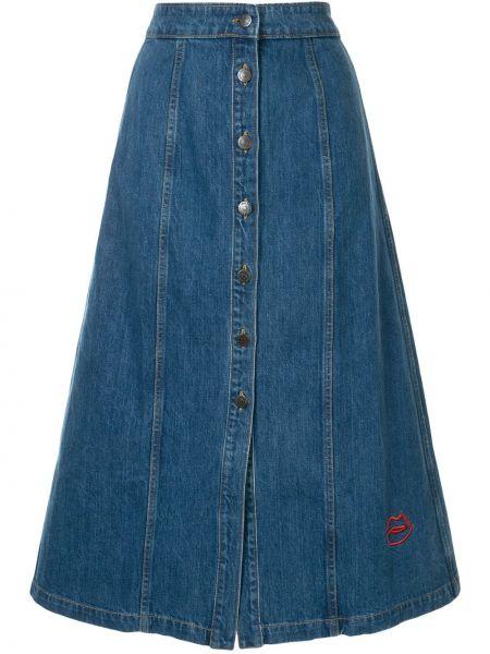 Niebieska spódnica midi rozkloszowana z wysokim stanem Etre Cecile