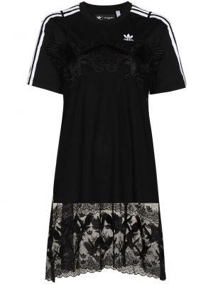 Czarna sukienka mini koronkowa bawełniana Adidas