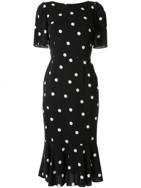 Приталенное шелковое платье миди с V-образным вырезом на молнии Dolce & Gabbana