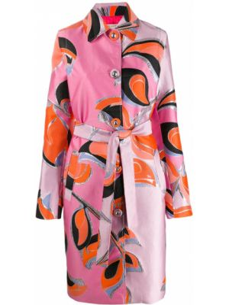 Розовое длинное пальто с капюшоном с воротником Emilio Pucci