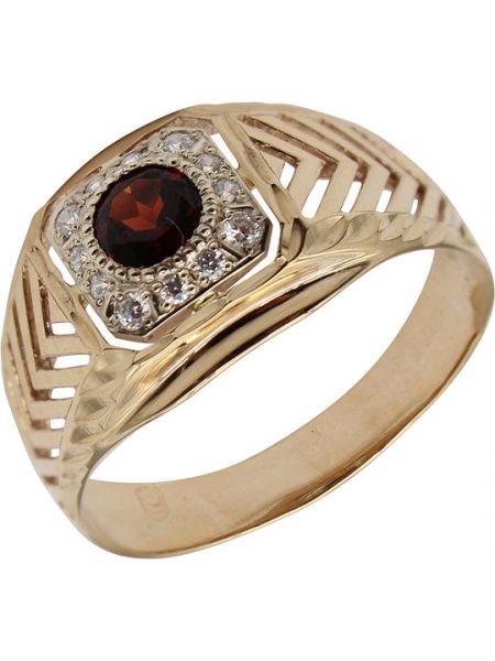 Золотистое кольцо золотое с фианитом маршал