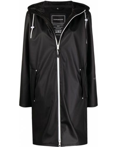 Czarny płaszcz przeciwdeszczowy z kapturem z długimi rękawami Calvin Klein Jeans