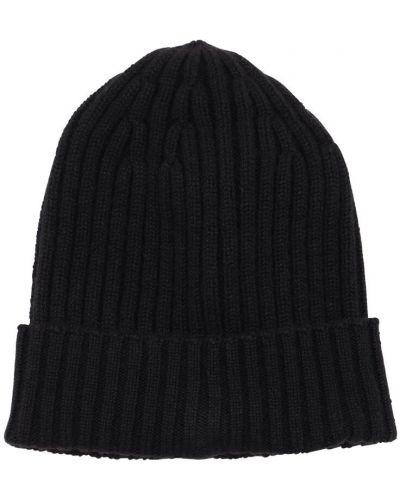 Z kaszmiru prążkowany czarny czapka beanie Piacenza Cashmere