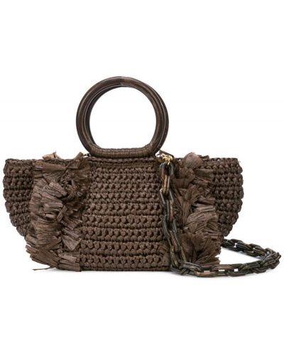Коричневая плетеная сумка-тоут круглая Carolina Santo Domingo