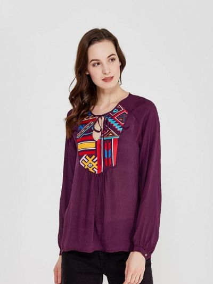 Блузка с длинными рукавами - бордовая Sack's