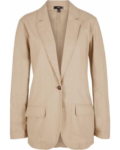 Льняной пиджак - коричневый Bonprix