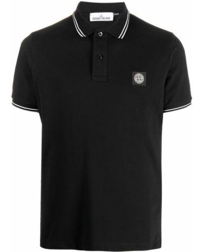 Рубашка с коротким рукавом - черная Stone Island Junior