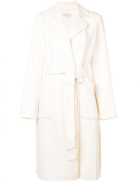 Шерстяное белое длинное пальто с капюшоном Michael Michael Kors