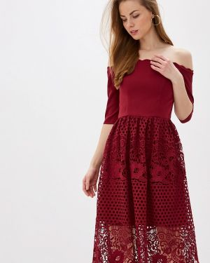 Бордовое вечернее платье Chi Chi London