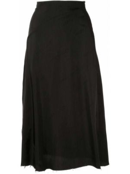 Черная с завышенной талией юбка миди в рубчик на молнии Yang Li