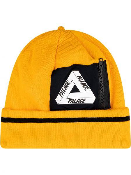 Trykotowy kapelusz z logo czarny Palace