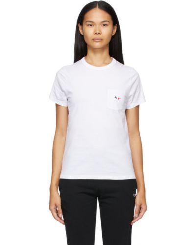 Хлопковая белая рубашка с короткими рукавами с воротником Maison Kitsuné