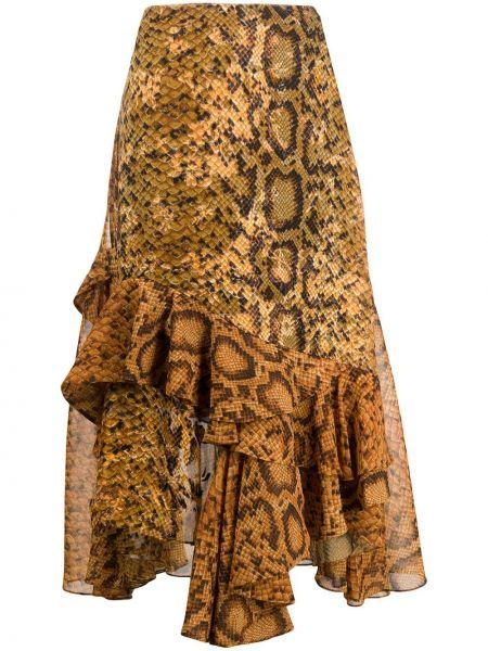 Желтая с завышенной талией юбка миди с оборками с драпировкой Preen By Thornton Bregazzi