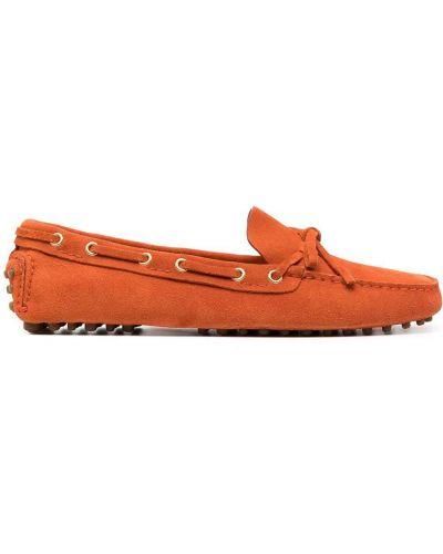 Оранжевые кожаные мокасины с бантом Car Shoe