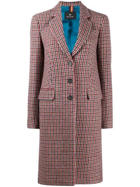 С рукавами розовое шерстяное длинное пальто Paul Smith