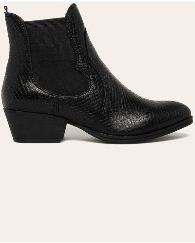 Ботинки на каблуке черные из искусственной кожи Tamaris