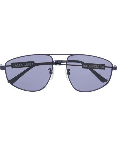 Синие солнцезащитные очки металлические Balenciaga Eyewear
