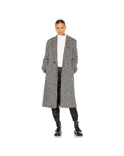Шерстяное черное пальто с запахом с карманами Anine Bing