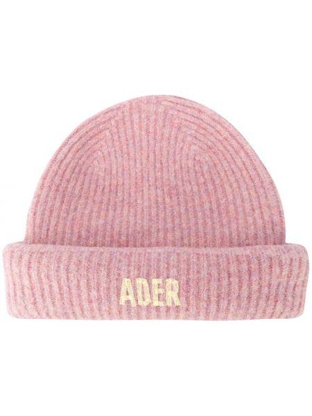 Różowy wełniany czapka z łatami Ader Error