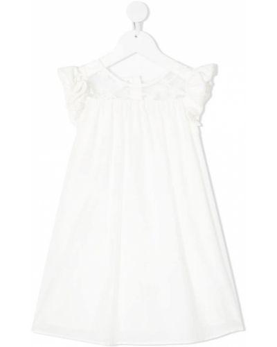 Biała sukienka rozkloszowana z jedwabiu Charabia