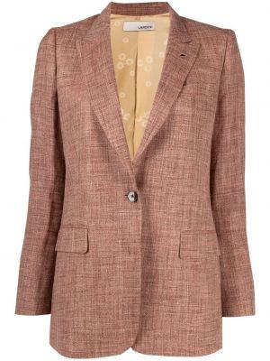 Однобортный коричневый удлиненный пиджак с карманами Lardini