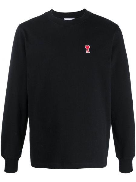 Czarny t-shirt z długimi rękawami bawełniany Ami