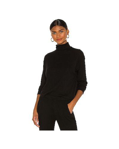 Шелковый черный свитер с воротником в рубчик Enza Costa