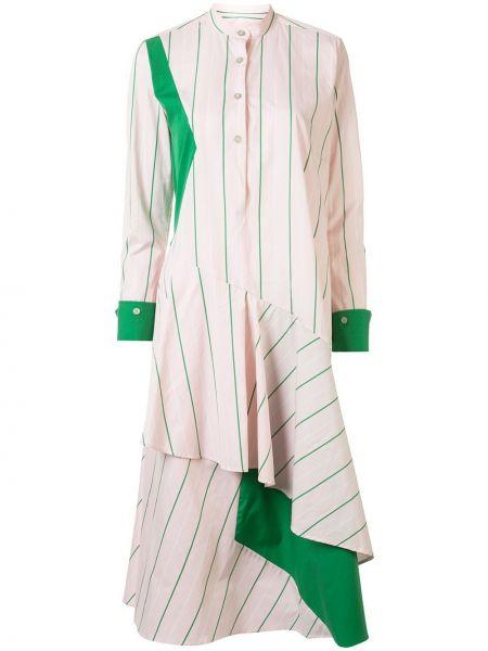 Розовое платье макси с оборками на пуговицах с вырезом Palmer / Harding