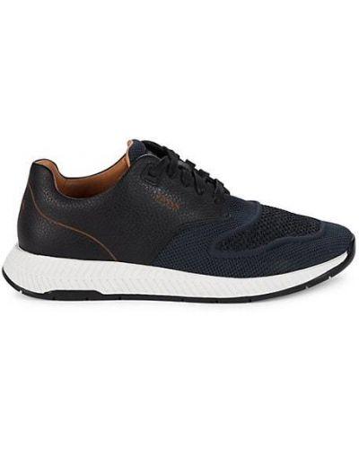 Кожаные кроссовки на шнурках сетчатые Boss Hugo Boss
