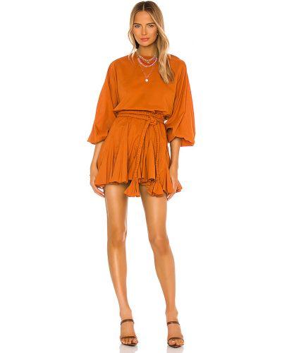 Pomarańczowa sukienka z paskiem bawełniana Rhode