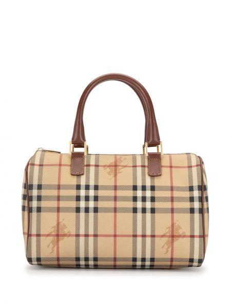 Золотистая коричневая сумка-тоут на молнии с карманами Burberry Pre-owned