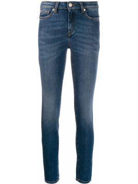 Синие джинсы-скинни с заклепками с поясом с пайетками Versace Collection
