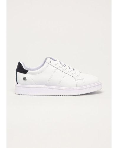 Białe sneakersy skorzane sznurowane Lauren Ralph Lauren