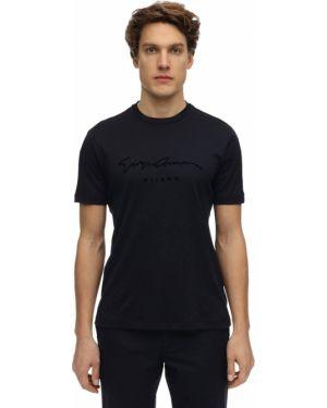 Niebieski t-shirt bawełniany Giorgio Armani