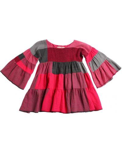 Розовое фланелевое платье макси с оборками Péro