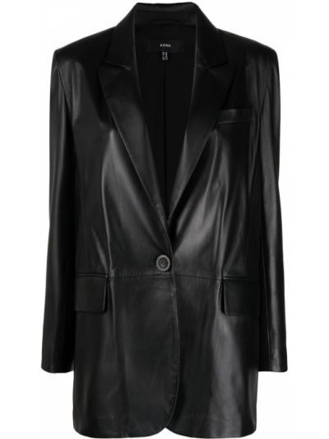 Однобортный черный кожаный удлиненный пиджак Arma