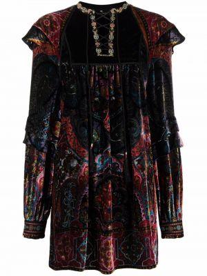 Платье макси с длинными рукавами - черное Etro