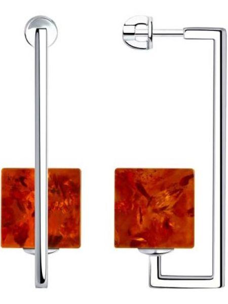 Серебряные серьги с янтарем квадратные Sokolov