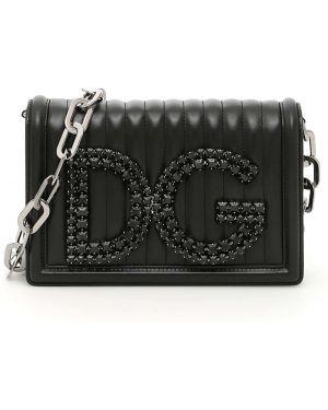 Серебряная стеганая сумка на цепочке металлическая Dolce & Gabbana
