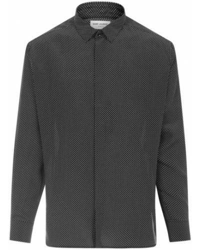 Klasyczna czarna koszula z jedwabiu Saint Laurent
