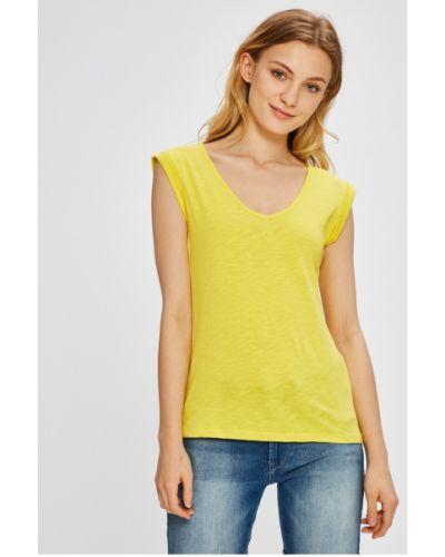 Желтая футбольная футболка с вырезом Miss Poem