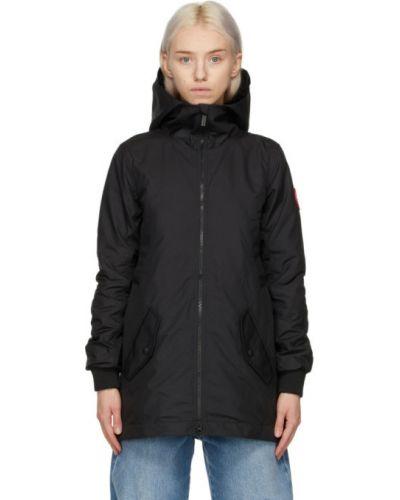 Черная длинная куртка с капюшоном с вышивкой Canada Goose