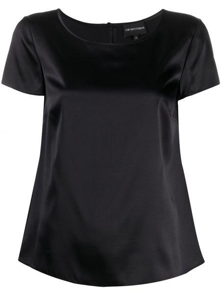 Bluzka z krótkim rękawem jedwabna plik wsadowy Emporio Armani